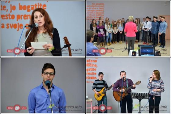 Ravnateljica Dubrovka Berc Prah, pevski zbor ŠCRS, bivši dijak ŠCRS, sedaj uspešen študent medicine in šolski band.
