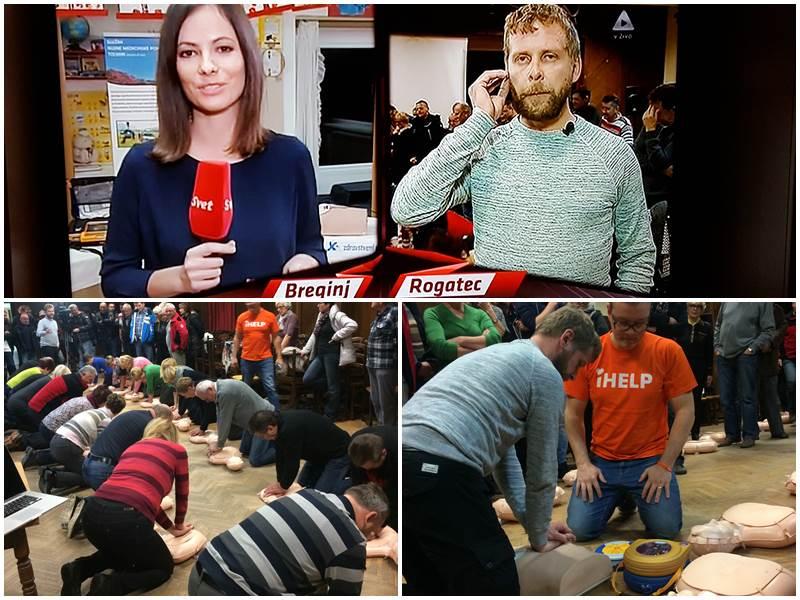 Fotografija zgoraj: neposredni vklop iz seminarja v oddajo Svet na Kanalu A. Fotografiji spodaj: udeleženci seminarja pri izvajanju TPO ter praktični prikaz uporabe defibrilatorja.