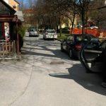 Zapora enosmerne ceste v središču Šmarja