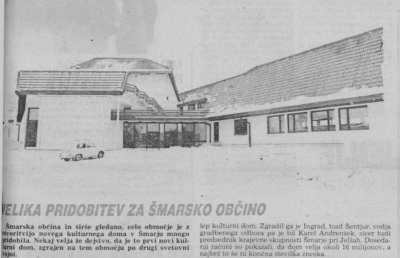 Z otvoritve KD Šmarje pri Jelšah - Naslovnica Novega tednika z dne 14. 12. 1978