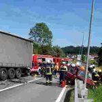 V Šmarju trk s tovornjakom (foto)