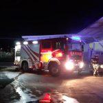 Zagorelo ob skladišču trgovskega podjetja v Mestinju